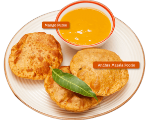 Andhra Masala Poorie and Mango Purée